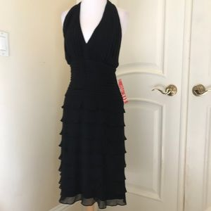 NWOT Tadashi black  tiered silk halter dress